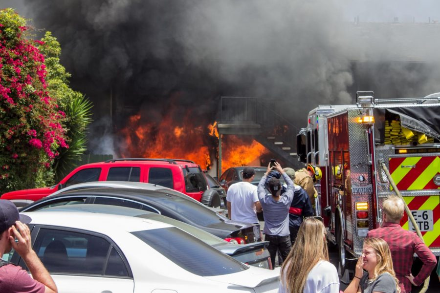 The Santa Barbara Fire Department battles an apartment fire at the Buena Vista apartment complex on Cliff Drive on Wednesday, May 9.
