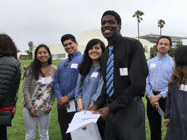 From right, Robert Williams, Celina Lazaro,  Daniel Gonzalez, and Maribel Anguiano at the SHPE scholarship award ceremony.
