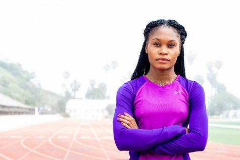 Vaquero Marie Kimumba on Tuesday, May 8, at La Playa Stadium, at Santa Barbara City College, in Santa Barbara. Kimumba is a sprinter and hurdler for the Vaqueros who is competing for the first time this year.