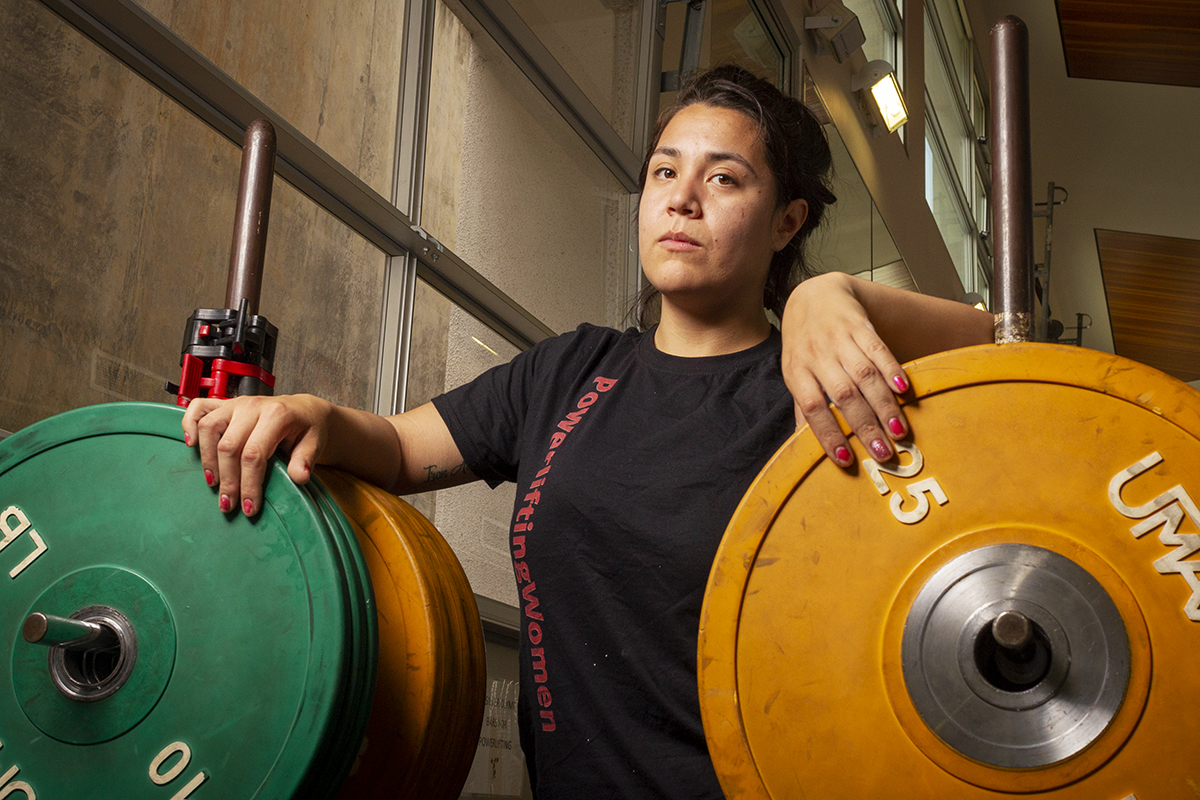 Krissy Sanchez on Tuesday, May 1 in the  Life Fitness Center at Santa Barbara City College. Sanchez is empowered by lifting weights and says it changed her outlook on life.