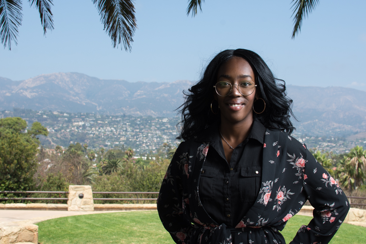 Naiha Dozier-el, the new president of the Black Student Union, poses at the Winslow Maxwell Overlook at Santa Barbara City College. The BSU program aims to encourage a positive image of black people and help its members in achieving their educational goals.