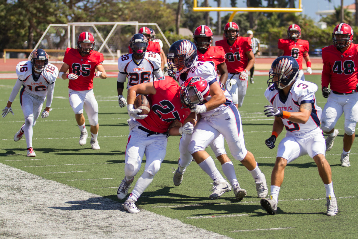 City College defensive back Patrick Dill returns the kick off from Citrus College at La Playa Stadium at City College in Santa Barbara, Calif., on Saturday, Sept. 22, 2018. The Vaqueros were defeated 34-13.
