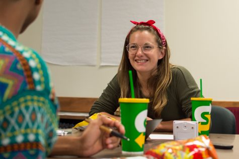 "Emily Hayman, a City College student interested in joining the Associated Student Government, during the ""Meet & Eat with your Reps"" event at the student senate room at City College in Santa Barbara, Calif., on Tuesday, Sept. 25, 2018."
