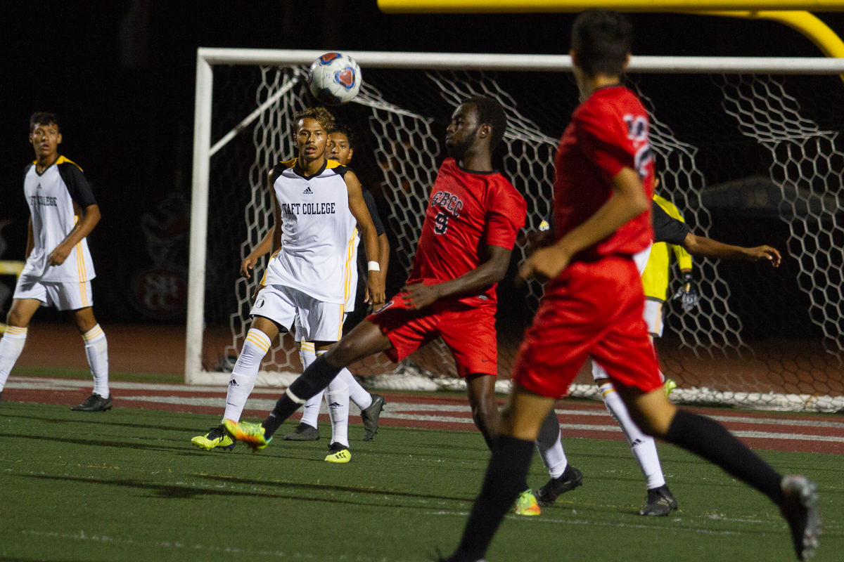 City College forward Kevin Kwizera (No. 9) intercepts a pass at La Playa Stadium at Santa Barbara City College on  Friday, Sept. 21.