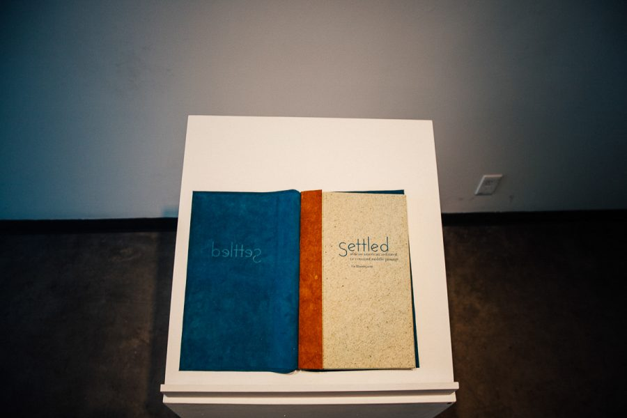 This Book was one of the several books featured in the Mourning/Warning exhibition by printmaker and book artist Tia Blassingame at the Atkinson Gallery at City College in Santa Barbara, Calif., on Tuesday, Sept. 25, 2018.