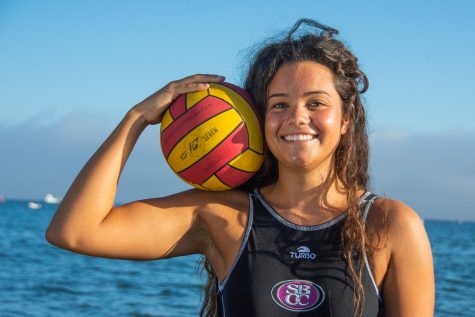 Nicole Poulos, the sophomore goalie for the Lady Vaqueros water polo team, competes in her second year for City College at the San Marcos High School pool in Santa Barbara Calif., on Sunday, Sept. 23, 2018. Poulos is from Carpinteria, making her the only Vaquero from Santa Barbara County.