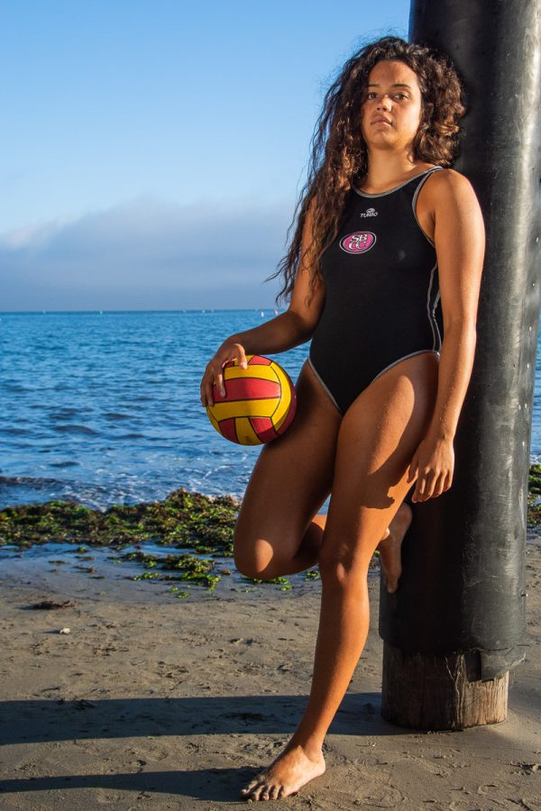 Nicole Poulos, a standout goalie for the Lady Vaqueros water polo team, at Stearns Wharf in Santa Barbara, Calif., on Sunday, Sept. 23, 2018. Poulos lead the Vaqueros with 170 saves last season, etching herself on the Vaqueros all time season leaders lists.