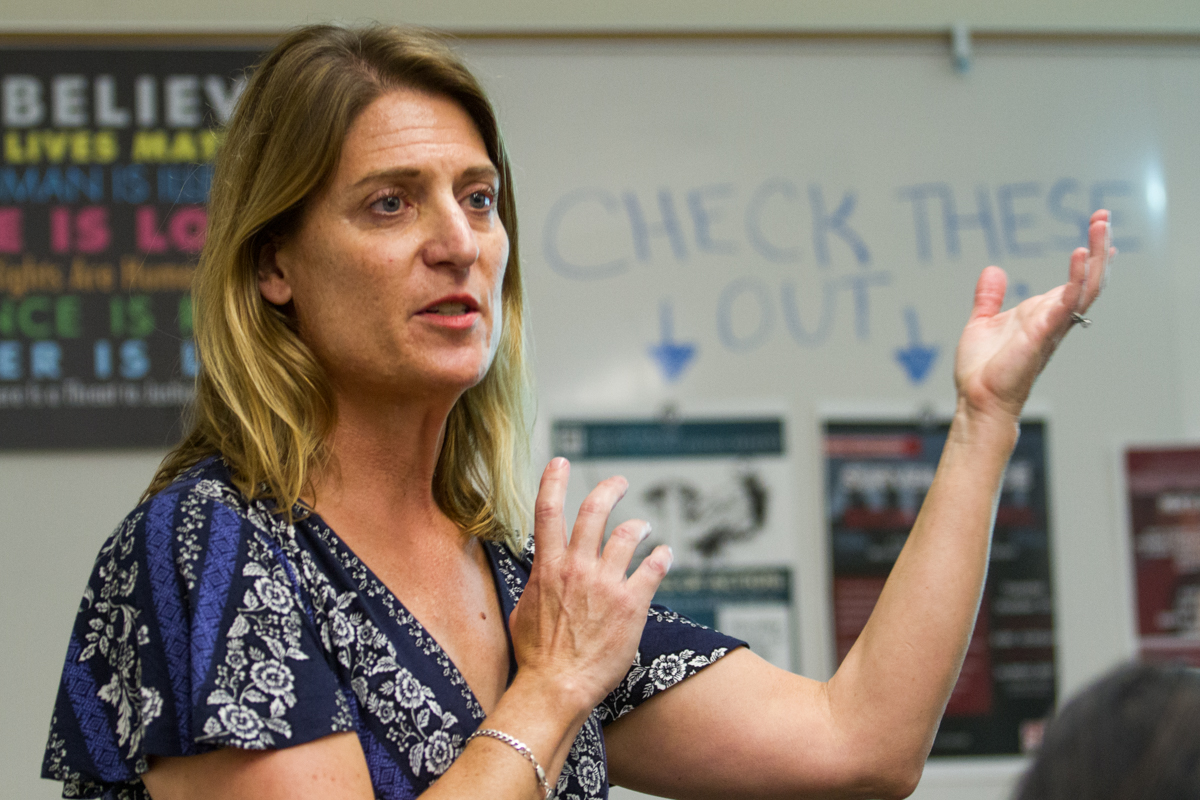 "History Professor Danielle Swiontek gives a lecture on ""20 Minutes of Action: The History of Rape Culture in the U.S."" at the West Campus Center at City College in Santa Barbara, Calif., on Thursday, Oct. 12, 2018."