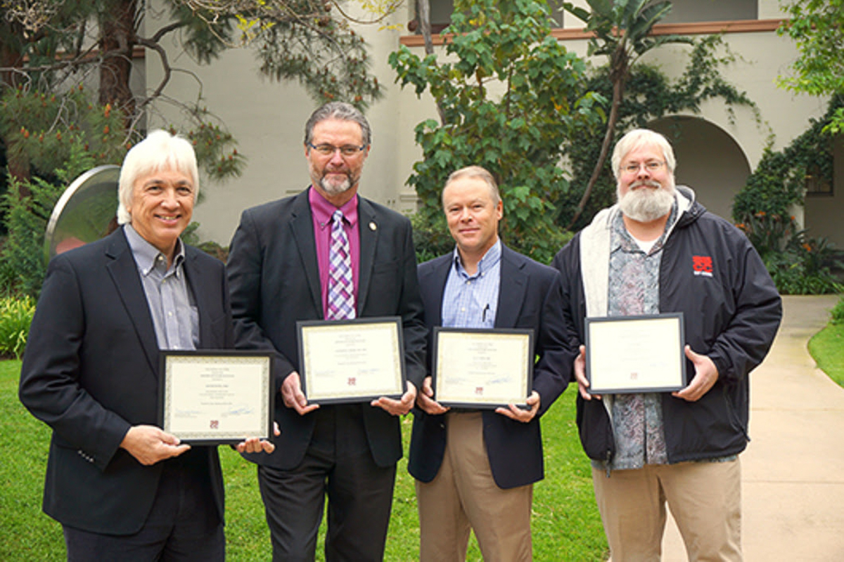 SBCC Superintendent/President Dr. Anthony E. Beebe (middle left) was named 2018 Outstanding Administrator of the Year at the Board of Trustees meeting on March 22. Honorable mentions included, from left to right, IT Director Dr. David Wong, Dean of Health/Human Services and Career Technology Dr. Alan Price, and IT User Services and Security Director Jim Clark. Nominations for the award were submitted by SBCC faculty and staff. Courtesy of Luz Reyes-Martin.