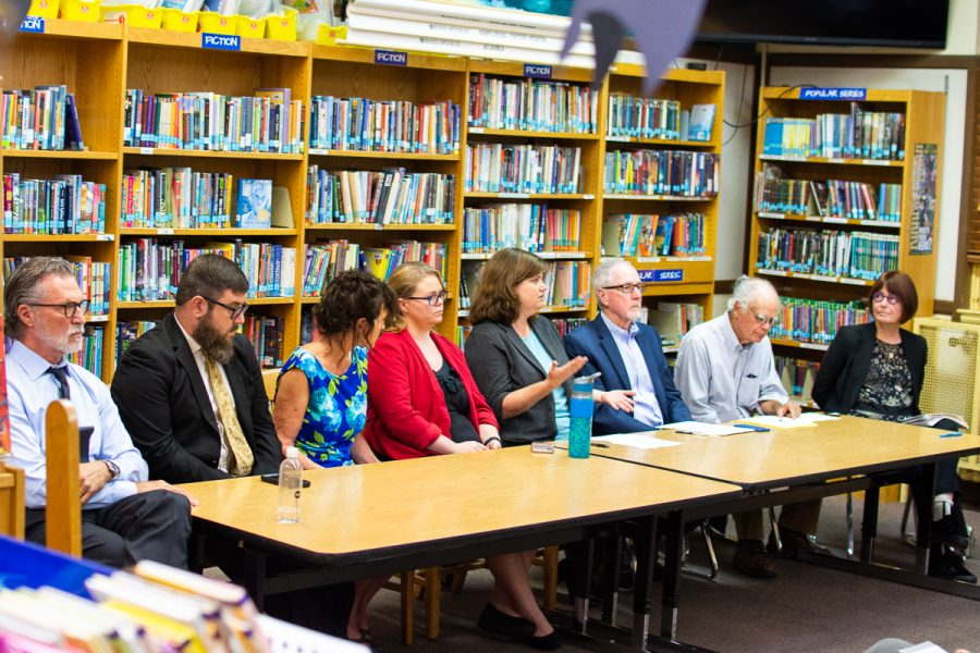 From left, candidates Daniel Seymour, Brandon T. Morse, Laurie Punches, Darcel Elliott, Kate Parker, Robert K. Miller, moderator John Kay, and Marsha Croninger debate at a public forum on Monday, Oct. 29, 2018, at McKinley Elementary School in Santa Barbara, Calif. Morse and Miller are campaigning for the seat representing District two, Elliott and Croninger are campaigning for the seat representing District five, and Parker, Punches, and Seymour are campaigning for the seat representing District seven.