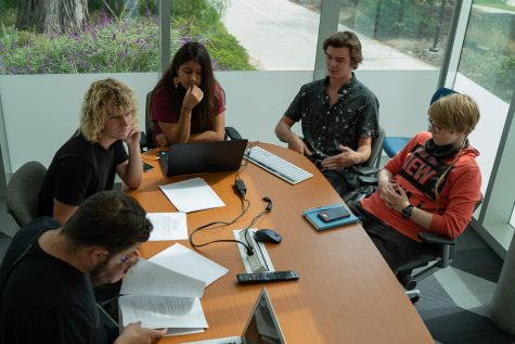City College film students meet to discuss options for moving forward, since this year's Capstone class was cancelled and funding has been cut for the program, at the Humanities Building at City College in Santa Barbara, Calif., on Friday Sept. 28.
