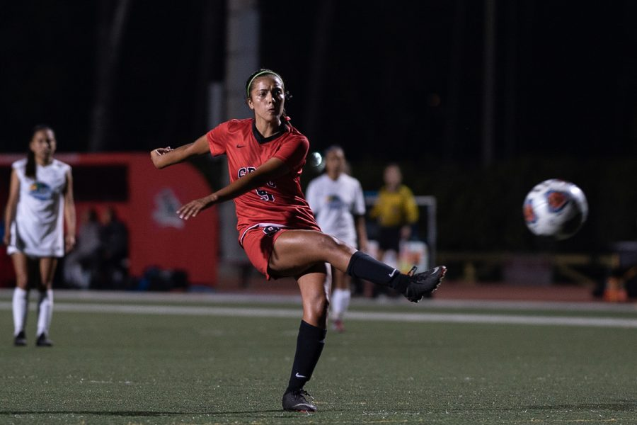 Jessica+Salas+scores+the+eighth+goal+for+the+Vaqueros+during+their+match+against+Oxnard+College+on+Friday%2C+Oct.+26%2C+2018%2C+at+La+Playa+Stadium+at+City+College+in+Santa+Barbara%2C+Calif.+Salas+scored+the+free+kick+from+19+yards+at+the+top+of+the+box.