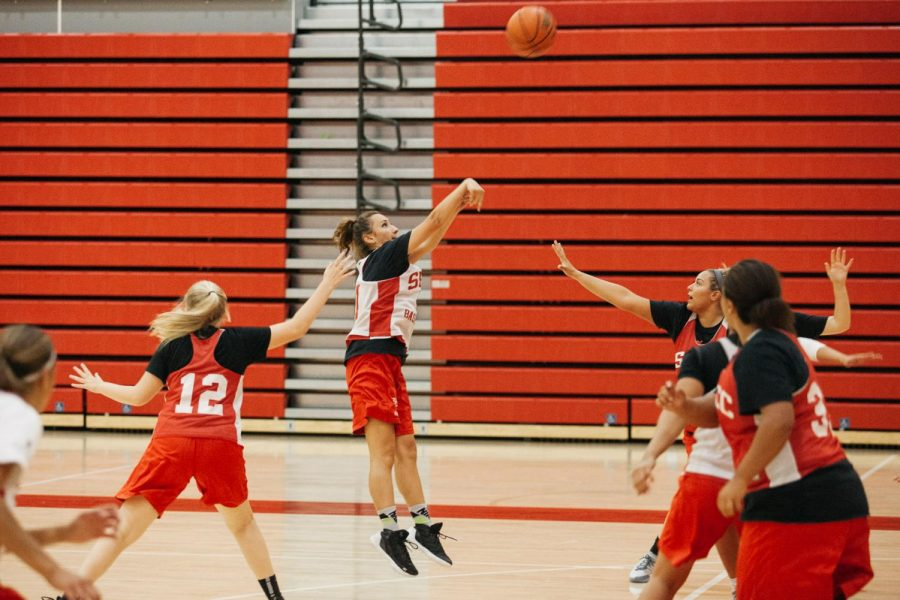 Michaela Berber shoots for three points during a team scrimmage on Tuesday, Oct. 23, 2018, in the Sports Pavilion at City College in Santa Barbara, Calif. The Vaqueros play each other during practice to simulate real games and playing under pressure.