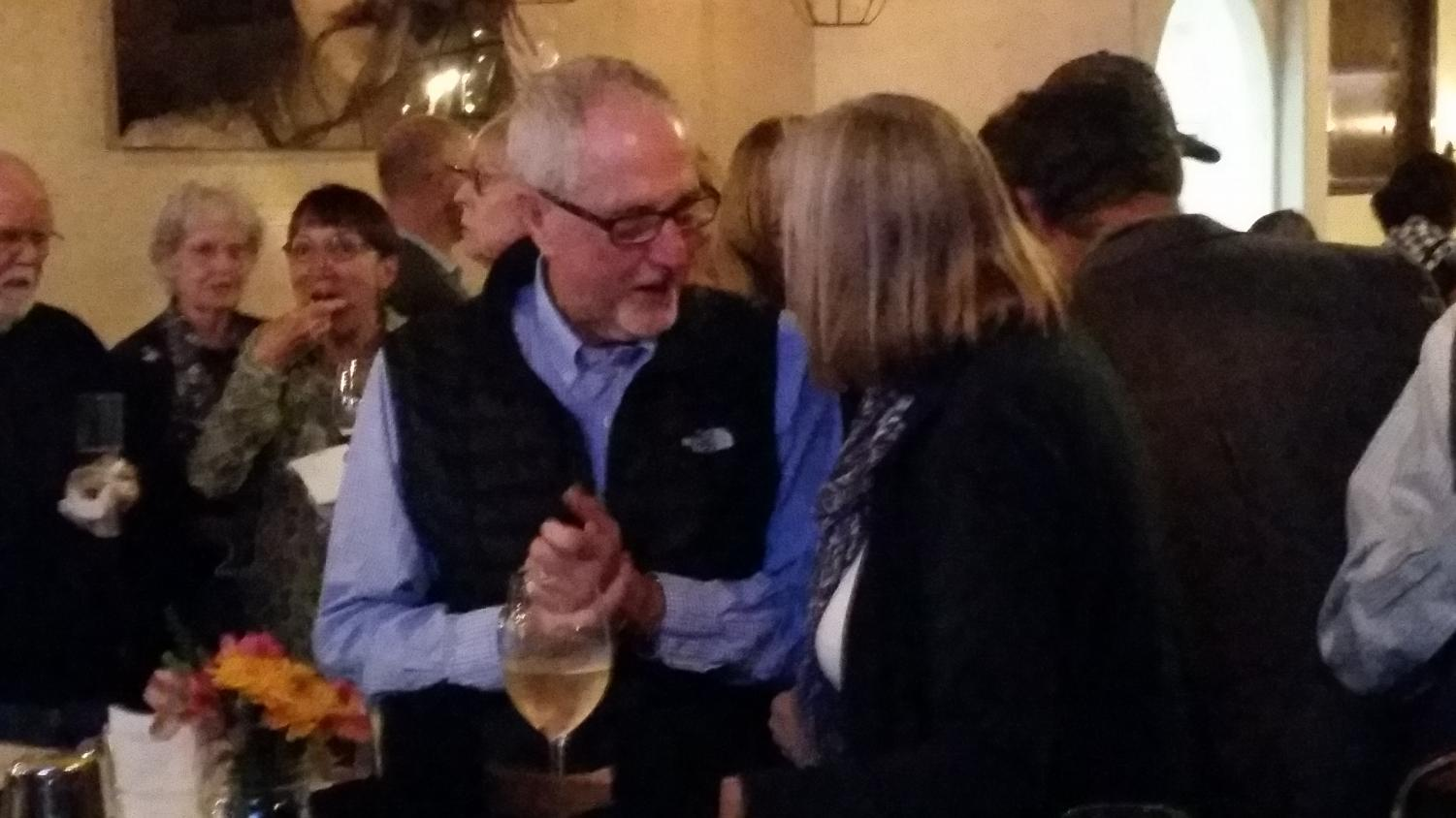 Goleta Council member Cynthia Brock speaks to District two incumbent Robert Miller at Vicentas Tuesday Nov. 6. Miller won against his fellow candidate Brandon Morse by 66 percent of the vote.