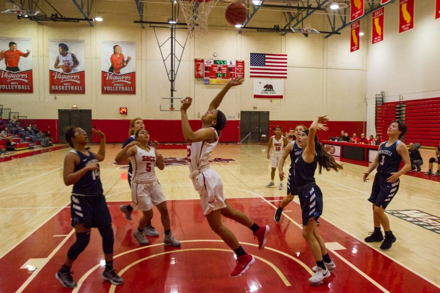 Lady Vaqueros guard Jennae Mayberry attempts a lay-up against MiraCosta College on Sunday, Nov. 11, inside the Sports Pavilion gym at City College in Santa Barbara, Calif. Mayberry missed the shot, but the Vaqueros still defeated MiraCosta College, 87-82.
