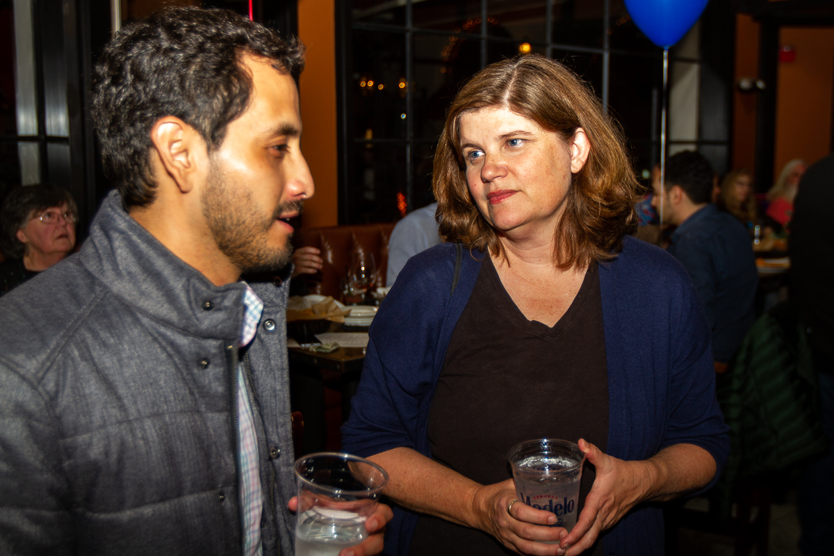 From left, Jesus Campos speaks with Kate Parker at Viva Modern Mexican on Tuesday, Nov. 6, in Santa Barbara, Calif. Parker, who was competing for a seat against Daniel Seymour and Laurie Punches as the District 7 Santa Barbara representative, won by 62 percent of the vote.