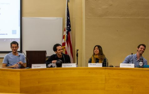 "From left, Gabe Baker, Sado Raboudi, Yifan Shao, and Andrew Lindsay speak about job opportunities in the gaming world during the ""How I Made It"" panel held on Wednesday, Nov. 14, in the Administration Building at City College in Santa Barbara, Calif. All but Baker are alumni at City College."
