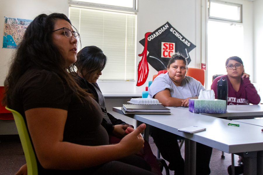 From left, student parents Maira Martinez, Jennifer Oropeza, Hannah Love, and Andrea Real discuss the difficulties they face with the resources provided on campus on Wednesday, Nov. 7, in the ESL building at City College in Santa Barbara, Calif.