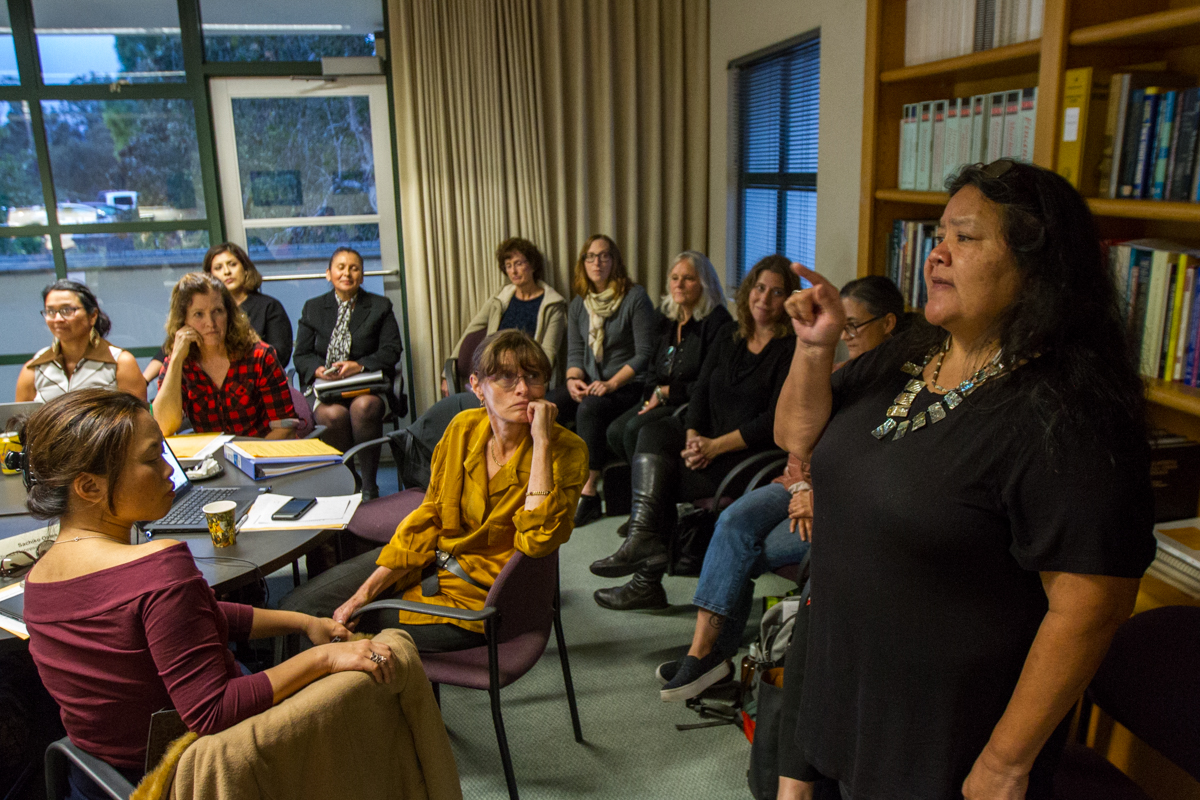 Annette Cordero (right) speaks during the Academic Senate meeting held on Wednesday, Nov. 28, at the Business Communications Center at City College in Santa Barbara, Calif. Cordero is an Assistant Professor at City College and has been affiliated with the college since she graduated high school.