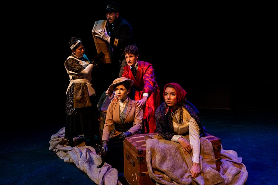 Mimi Vörösmarthy, Manuel Davila, Johnny Waaler, Lidia Dragone, and Hannah Brudney in the SBCC Theatre Arts Department's student showcase production of THE LAST LIFEBOAT by Luke Yankee. November 7-17, 2018, Jurkowitz Theatre, SBCC West Campus. Photo credit: Ben Crop