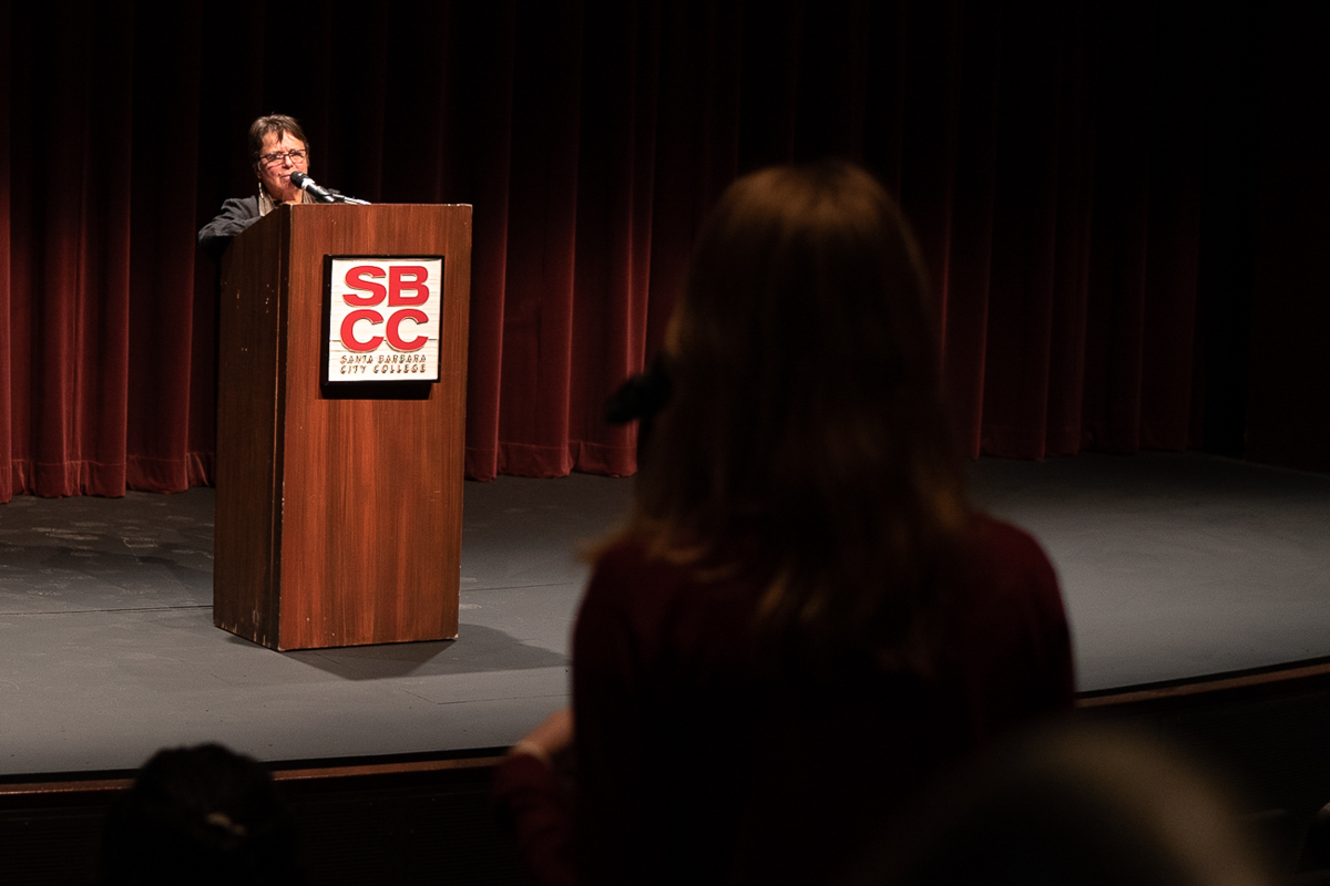 "Cherrie Moraga answers questions from the crowd after reading excerpts from her new book on Wednesday, Nov. 7, at the Garvin Theatre at City College, in Santa Barbara, Calif. Moraga has a new book ""Native Country of the Heart"" and is scheduled to be released next year in April."