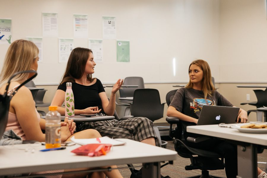 From left, Mirjam Maier speaks to Yvann Myren about female equality during the first meeting of the Women's Empowerment Club on Thursday, Nov. 15, 2018, in the West Campus Center at City College in Santa Barbara, Calif. Myren, a 20-year-old Cty College student born in Norway, is the president of the Women's Empowerment Club.