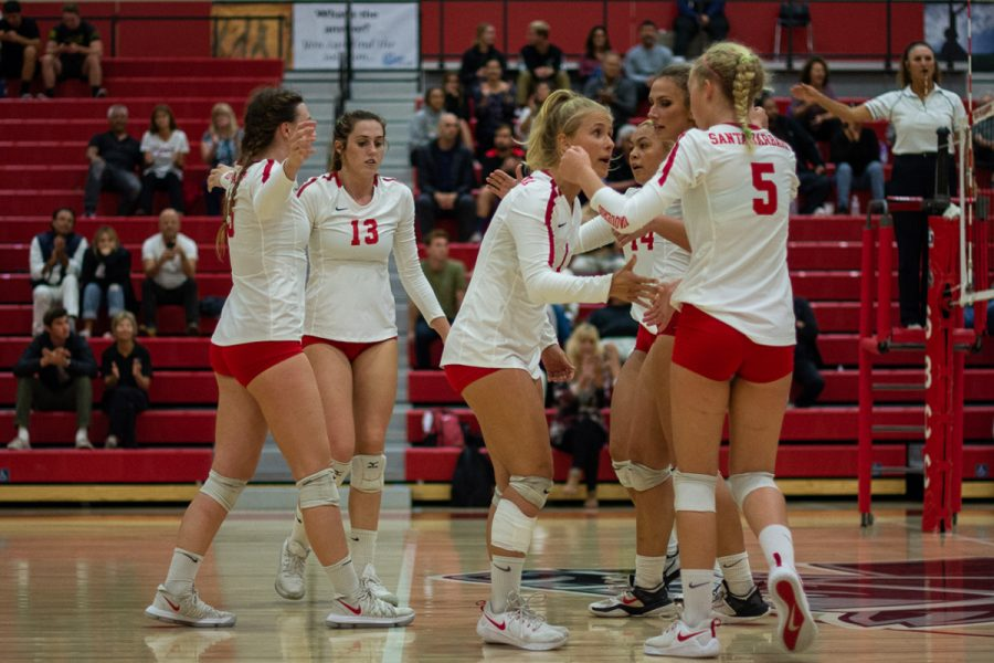 Lexi Michaelson (No. 1) keeps Danielle Hewitt (No. 5) and the rest of the Lady Vaqueros in check following a missed block that was not recovered, putting the Lady Vaqueros within one point of losing the game on Wednesday evening on Nov. 7, 2018, at the Sports Pavilion at Santa Barbara City College in Santa Barbara, Calif. The Lady Vaqueros did not give up regardless of the six point deficit in the first set, a five point deficit in the second set, and coming up short in the third.