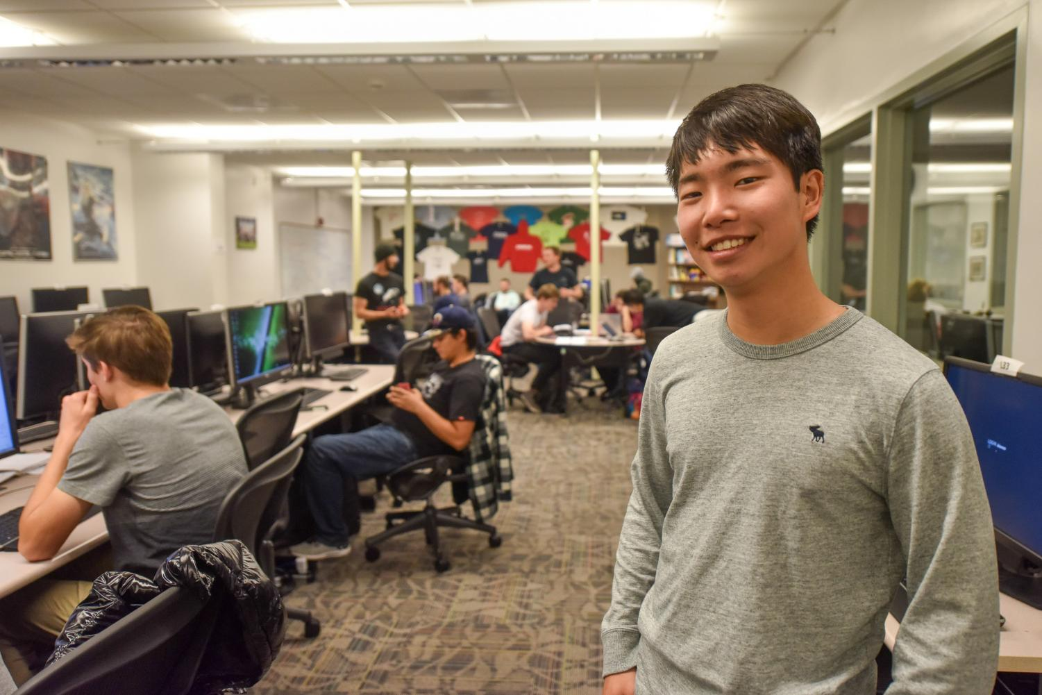 Kevin Ni, president of the Computer Science Club and secretary of the Associated Student Government, poses at the computer science lab in the Humanities Building on Thursday, Dec. 5, at City College in Santa Barbara Calif. During the semester, Ni can often be found in the lab working on projects and conversing with peers.