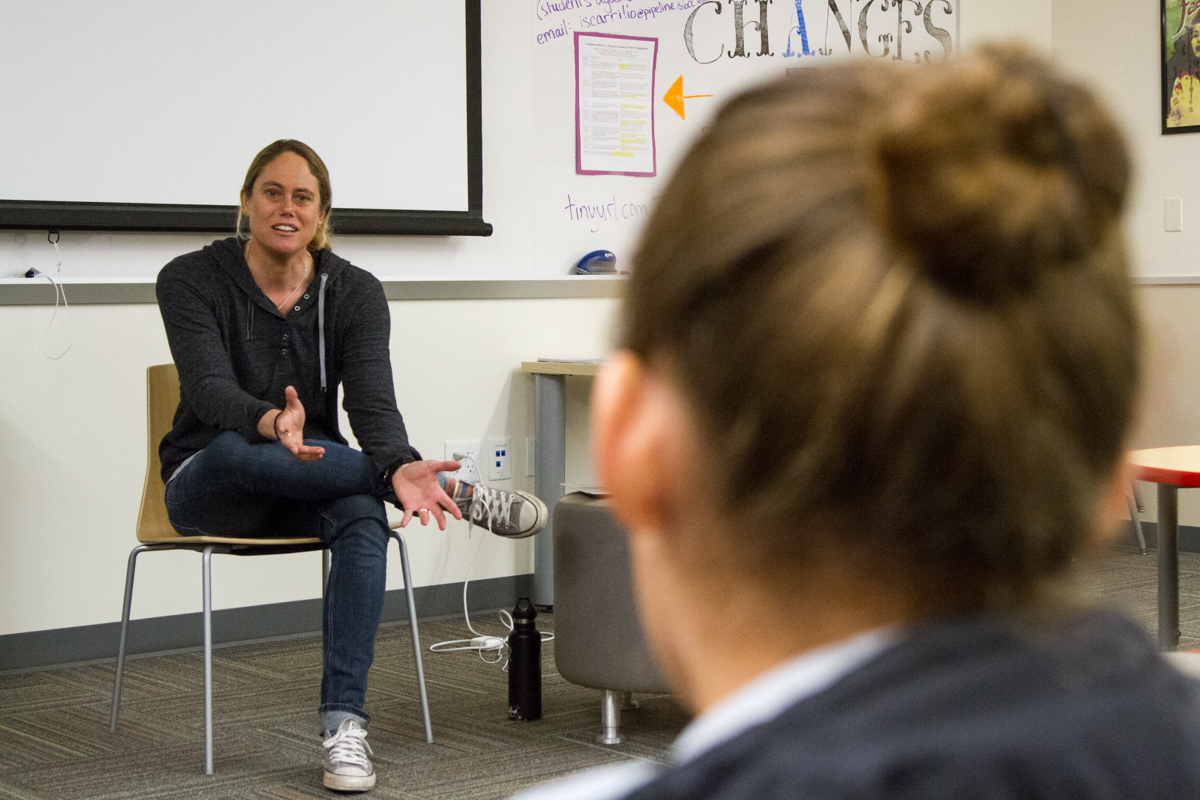 Jen See speaks about how she got into sports journalism after pursuing a doctorate in U.S. History on Wednesday, Feb. 20, 2019, inside the West Campus Center at City College in Santa Barbara, Calif. See writes for a variety of magazines such as Men's Journal, Cycling, and Surfing.