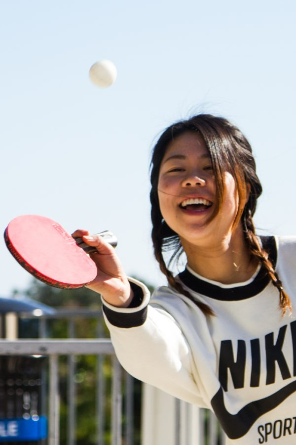 Yurie Murase hits the ball during a game of table tennis the Ping Pong Club hosted on Thursday, Feb. 7, 2019, at City College in Santa Barbara, Calif.