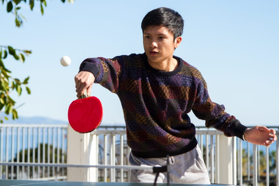 Paolo Pedrigal hits the ball during a game of table tennis the Ping Pong Club hosted on Thursday, Feb. 7, 2019, at City College in Santa Barbara, Calif. Pedrigal has been playing ping pong for six months now.