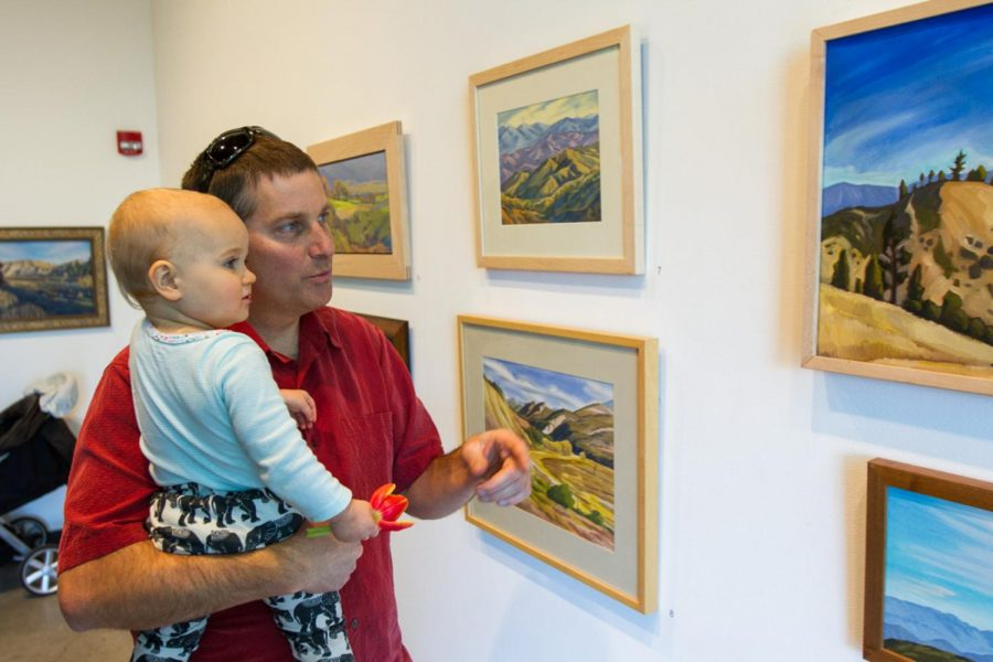 Matt+Kay+and+his+son+Wren+Kay+look+at+artwork+displayed+during+the+Oak+Group%E2%80%99s+exhibition+%E2%80%98In+Wildness%E2%80%99+on+Jan.+25%2C+2018%2C+at+City+College%E2%80%99s+Atkinson+Gallery+in+Santa+Barbara%2C+Calif.+The+gallery+featured+landscape+paintings+by+members+of+the+Oak+Group.