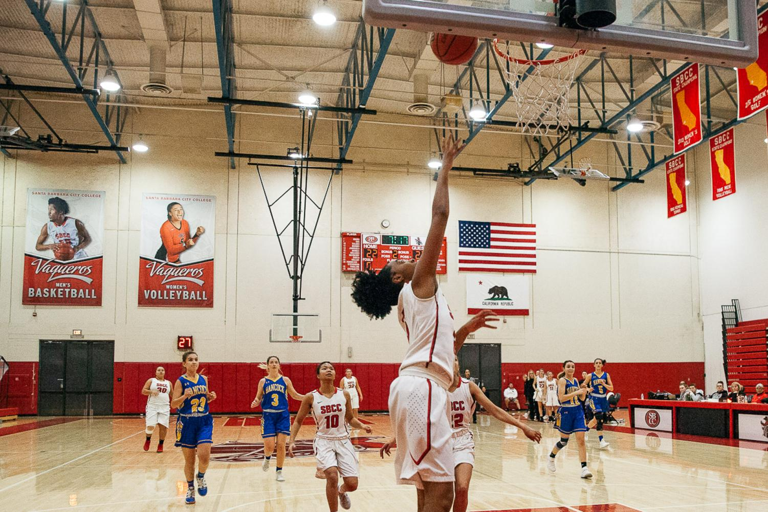 Meagan Moore leaps for two points during a game against Allan Hancock on Thursday, Feb. 19, 2019, at La Playa Stadium at City College in Santa Barbara, Calif.
