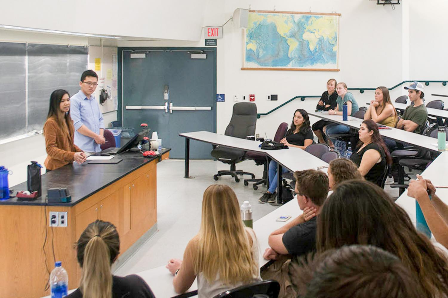 Kathy Pham and Seine Ham lead the first Pre-Med Club meeting on Jan. 25 at the Earth and Biological Sciences Building in Room 309 at Santa Barbara City College.