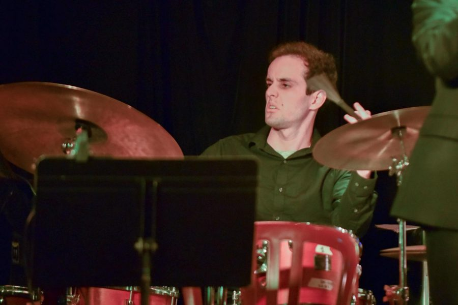 Aeron Price plays the drums during the Lunchbreak Big Bands performance on Monday Feb. 11, 2019, at the Soho Restaurant and Music Bar in Santa Barbara, Calif. The City College band will be playing again at Soho on March 18 at 7 p.m.