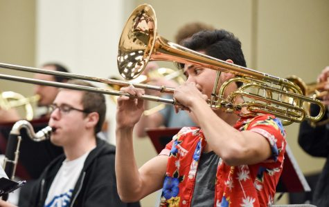 Douglas Swayne plays the bass trombone during the Lunchbreak Big Bands practice on Thursday Feb. 7 at City College in Santa Barbara, Calif. This was the bands last practice before their upcoming show at 6 p.m. Monday, Feb. 11 at the SoHo Restaurant and Music Club.