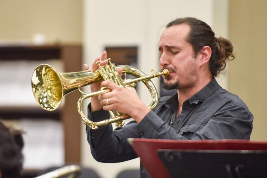 Douglas Swayne plays the cornet during the Lunchbreak Big Bands practice on Thursday Feb. 7 at City College in Santa Barbara, Calif. This was the bands last practice before their upcoming show at 7 p.m. Monday, Feb. 11 at the SoHo Restaurant and Music Club.