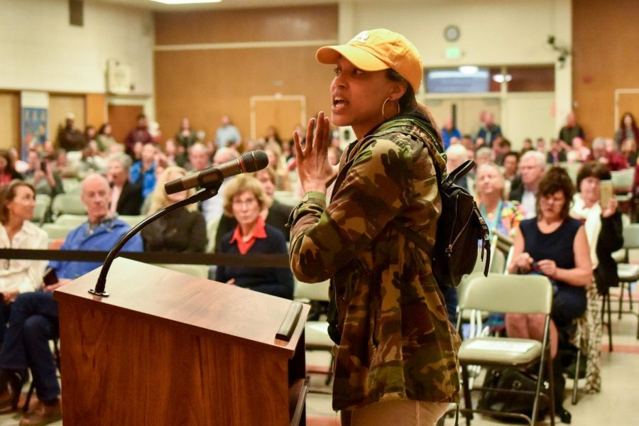 Former Student Trustee Krystle Farmer expresses her outrage with The Board of Trustees' actions on Thursday, Feb. 14, 2019, at The Wake Campus in Santa Barbara, Calif.