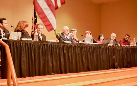 After the two-hour long public comment section, Trustee Robert Miller calls to move to the boards discussion of reinstating the Pledge of Allegiance on Thursday, Feb. 14, 2019, at The Wake Campus in Santa Barbara, Calif.