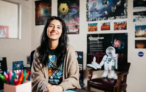 Bianca Vasquez poses for a portrait in her home office on Thursday, Feb. 21, 2019, at her apartment on the Mesa in Santa Barbara, Calif. Vasquez is the founder of the 18 Society of Women in Space Exploration clubs nationwide.