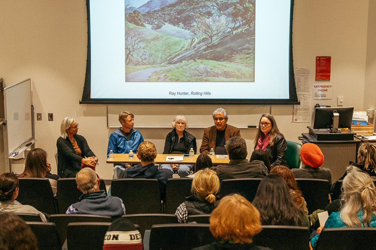 """From left, Public Lands Advocate for Los Padres ForrestWatch Rebecca August sits among Oak Group artists Kevin Gleason, Marcia Burtt, Arturo Tello and Atkinson Gallery Director Sarah Cunningham for the """"In Wilderness"""" artist panel discussion on Wednesday, Feb. 27, 2019, in the Humanities Building auditorium at City College in Santa Barbara, Calif. The artists involved discussed their relationships to painting and California landscapes."""