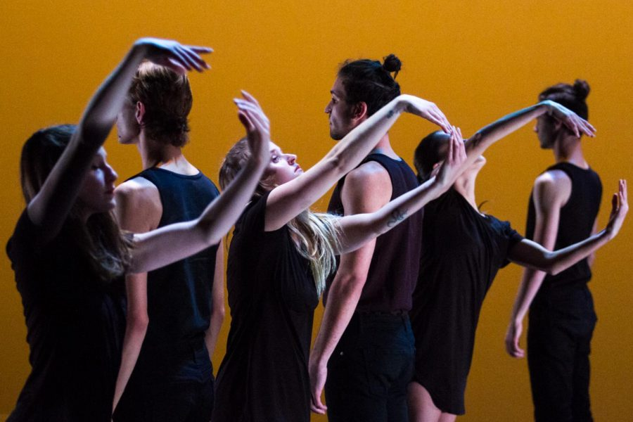 "Members of the Santa Barbara City College Dance Company perform ""Prologue; A Sense Of Human"", choreographed by Shelby Lynn Joyce, on Friday, March 1, 2019, during the HH11 Dance Festival at the Center Stage Theater in Santa Barbara, Calif. Artist Director Tracy R. Kofford and Joyce selected the costumes for the dancers."