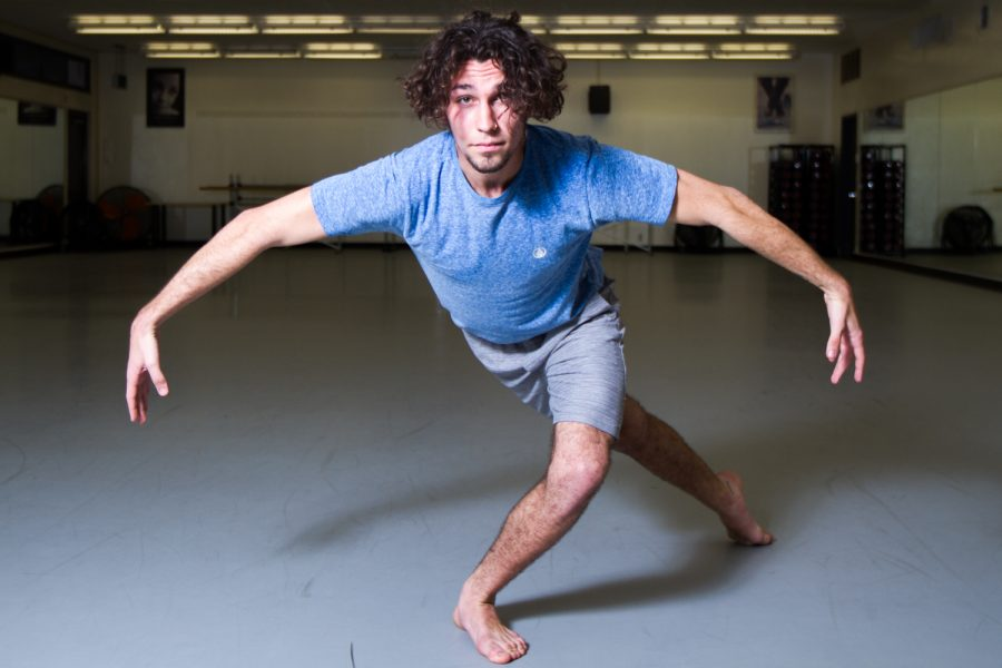 Dallin McComb, a dancer from City College's Dance Company, practices inside the Sports Pavilion on Tuesday, March 5, 2019, at City College in Santa Barbara, Calif. McComb has been dancing for three years and after Tracy Kofford, artist director of SBCC Dance Company, asked him to choreograph a dance, he knew that's what he wanted to focus on.