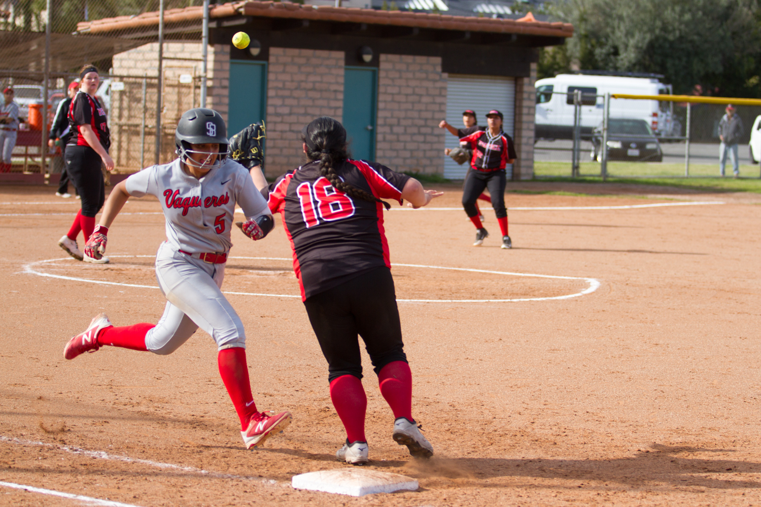 Vaquero Emily LoneTree (No. 5) hustles down the first base line for an infield hit against L.A. Pierce on Friday, March 22, 2019, at Pershing Park in Santa Barbara, Calif. The Vaqueros defeated L.A. Pierce 8-0.