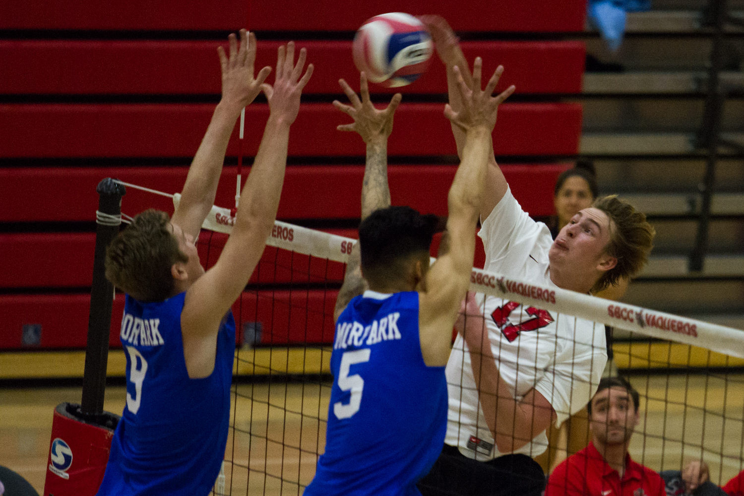 Vaquero right side hitter Blake Lockhart (No. 17) spikes the ball against Moorpark on Friday, March 22, 2019, inside the Sports Pavilion at City College in Santa Barbara, Calif. The Vaqueros beat the Raiders 3-1.