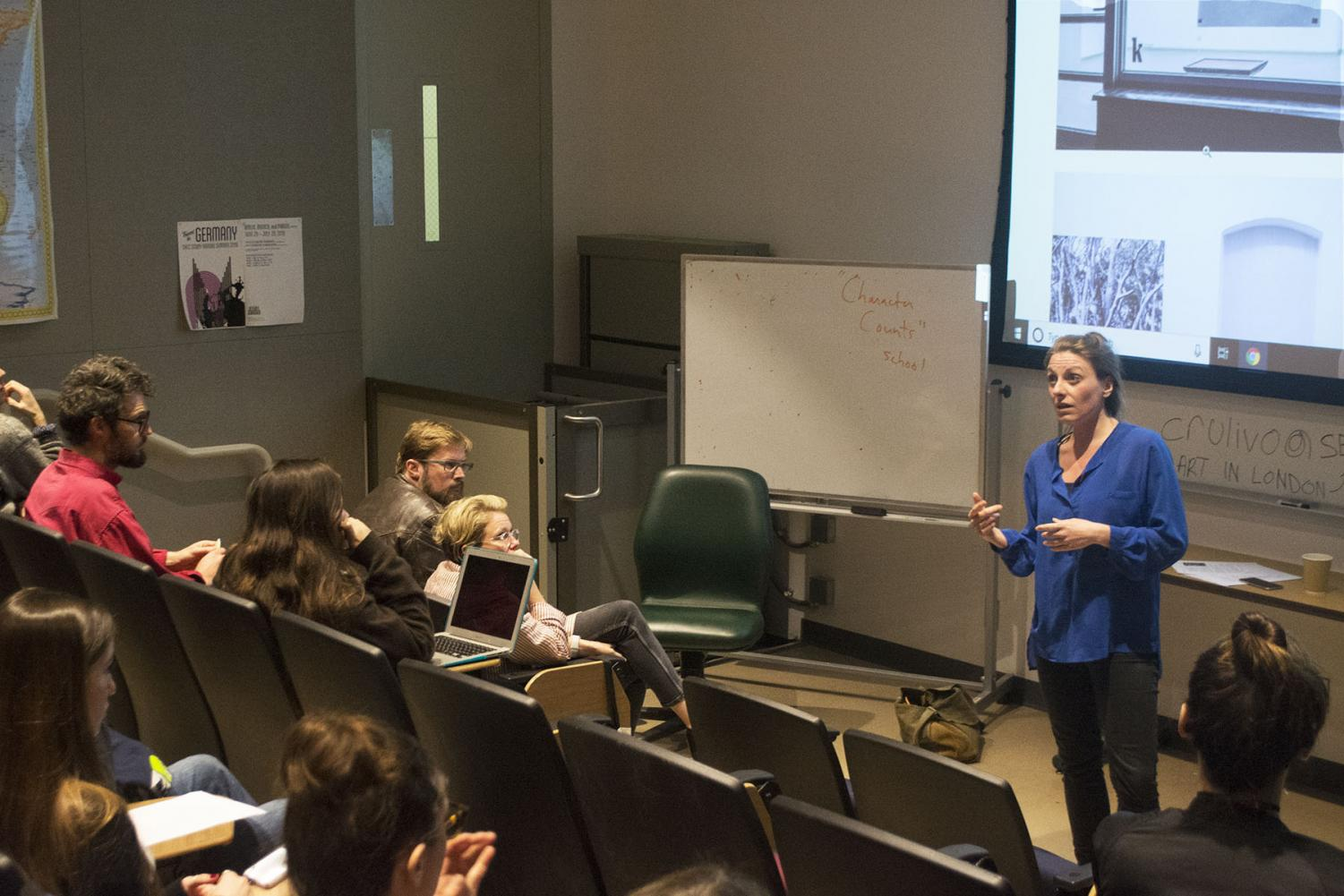 Mirjam Wendt explains her job as an art curator in museums and exhibits in the Humanities Building Room 111 on Thursday, March 7, 2019 at City College in Santa Barbara, Calif.