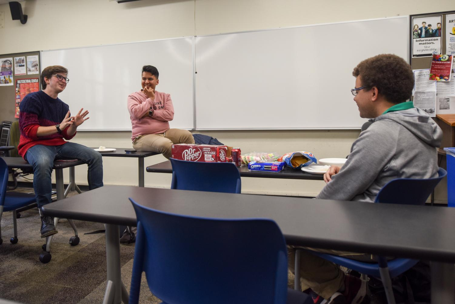 Members of the Campus Democrats Club from left, club president Percy Langston, club vice president Alan Morales, and Damian Clogher, hold their first meeting on Thursday, March 21, 2019, in the Interdisciplinary Center Room 222 at City College in Santa Barbara, Calif.