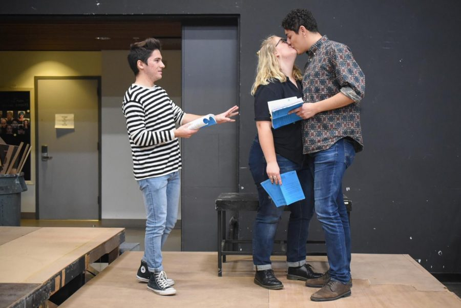 "From left, Cristian Duarte, Aurora Gooch and Irving Sota rehearse for the upcoming play ""Significant Other"" on Friday, March 8 in the Jurkowitz Theatre at City College in Santa Barbara, Calif."