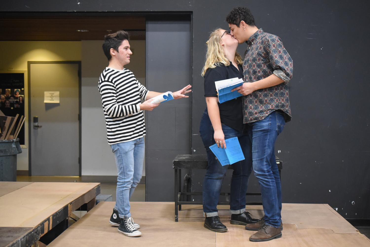 "From left, Cristian Duarte, Aurora Gooch and Irving Sota rehearse for the upcoming play ""Significant Other"" on Friday, March 8, in the Jurkowitz Theatre at City College in Santa Barbara, Calif."