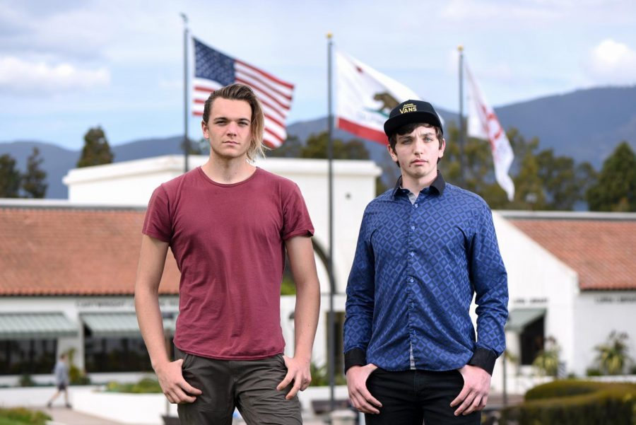 From left, Rafael Carrillo and Cage Englander are in the beginning stages of starting a Young Americans Chapter at City College on Monday, March 11, 2019, in front of the Luria Library in Santa Barbara, Calif. Both are middle college students, Carrillo will be the treasurer and Englander will be the club president.